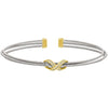 Rhodium Finish Sterling Silver Three Cable Cuff Bracelet with Gold Finish Simulated Diamond Infinity