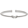 Rhodium Finish Sterling Silver Three Cable Cuff Bracelet with Rhodium Finish Simulated Diamond Infinity