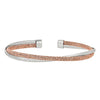 Rose Gold Finish Sterling Silver and Rhodium Finish Omega Twist Cuff Bracele