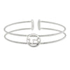 Rhodium Finish Sterling Silver Cable Cuff Constellation Bracelet with Simulated Diamonds - Scorpio