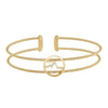 Gold Finish Sterling Silver Cable Cuff Constellation Bracelet with Simulated Diamonds - Taurus