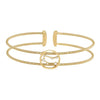 Gold Finish Sterling Silver Cable Cuff Constellation Bracelet with Simulated Diamonds - Gemini