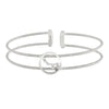 Rhodium Finish Sterling Silver Cable Cuff Constellation Bracelet with Simulated Diamonds - Little Dipper