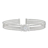 Rhodium Finish Sterling Silver Four Cable Cuff Bracelet with Simulated Diamond Cushion Cut Shape and Vertical Bar on Either Side