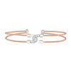 Rose Gold Finish Sterling Silver Two Cable Cuff Bracelet with Rhodium Finish Simulated Diamond Linked Double Arc