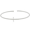 Rhodium Finish Sterling Silver Cable Cuff CroSilver Bracelet with Simulated Diamonds