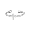 Rhodium Finish Sterling Silver Cable Cuff CroSilver Ring with Simulated Diamonds