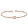 Rose Gold Finish Sterling Silver Three Cable Cuff Bracelet with Five Row Simulated Diamond Barre