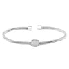 Rhodium Finish Sterling Silver Three Cable Cuff Bracelet with Five Row Simulated Diamond Barrel