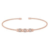 Rose Gold Finish Sterling Silver Cable Cuff Bracelet with Three Spinning Simulated Diamond Beads
