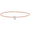 Rose Gold Finish Sterling Silver Cable Cuff Bracelet with Three Round Simulated Diamonds