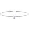 Rhodium Finish Sterling Silver Cable Cuff Bracelet with Three Round Simulated Diamonds