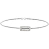 Rhodium Finish Sterling Silver Cable Cuff Bracelet with Simulated Diamond Open Rectangle