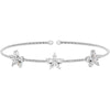 Rhodium Finish Sterling Silver Cable Cuff Bracelet with Simulated Diamond Flowers