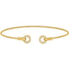 Gold Finish Sterling Silver Cable Cuff Bracelet with Simulated Diamond Open Circles