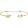 Gold Finish Sterling Silver Cable Cuff Bracelet with Simulated Diamond Knots