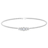 Rhodium Finish Sterling Silver Cable Cuff Bracelet with Graduated Five Stone Simulated Diamonds