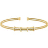 Gold Finish Sterling Silver Two Cable Cuff Bracelet with Two Row Simulated Diamond Pattern