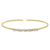 Gold Finish Sterling Silver Cable Cuff 5 Tapered Baguettes Bracelet with Simulated Diamonds