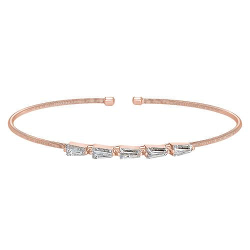Rose Gold Finish Sterling Silver Cable Cuff 5 Tapered Baguettes Bracelet with Simulated Diamonds