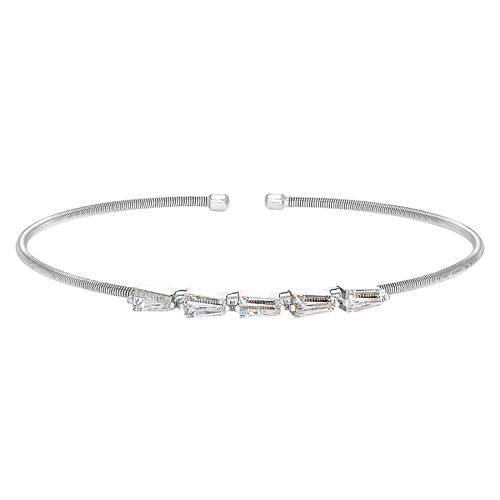 Rhodium Finish Sterling Silver Cable Cuff 5 Tapered Baguettes Bracelet with Simulated Diamonds