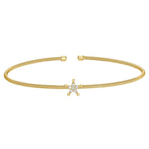 Gold Finish Sterling Silver Cable Cuff Star Bracelet with Simulated Diamonds