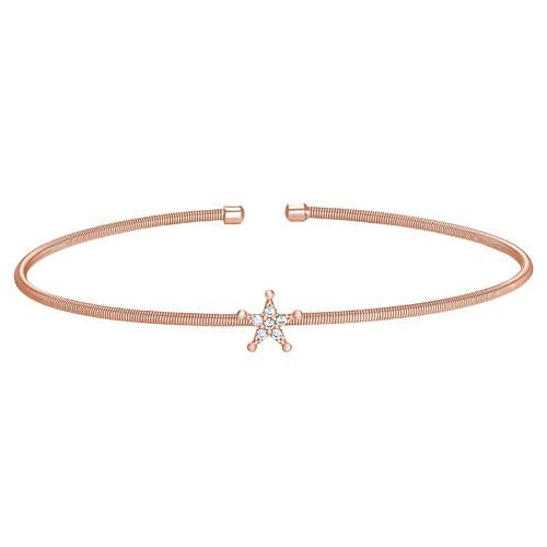 Rose Gold Finish Sterling Silver Cable Cuff Star Bracelet with Simulated Diamonds