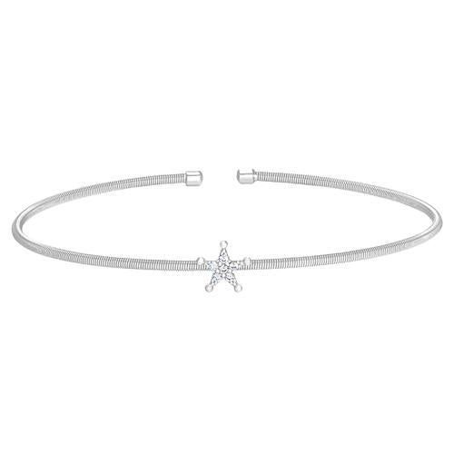 Rhodium Finish Sterling Silver Cable Cuff Star Bracelet with Simulated Diamonds