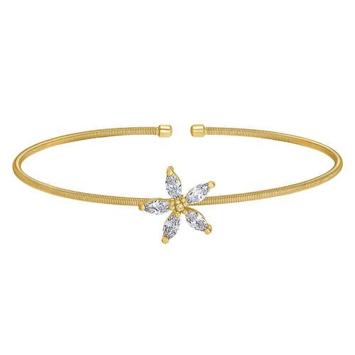 Gold Finish Sterling Silver Cable Cuff Flower Bracelet with Simulated Diamonds