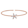 Rose Gold Finish Sterling Silver Cable Cuff Flower Bracelet with Simulated Diamonds