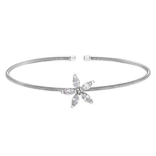 Rhodium Finish Sterling Silver Cable Cuff Flower Bracelet with Simulated Diamonds