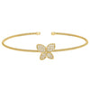 Gold Finish Sterling Silver Cable Cuff Butterfly Bracelet with Simulated Diamonds