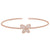 Rose Gold Finish Sterling Silver Cable Cuff Butterfly Bracelet with Simulated Diamonds