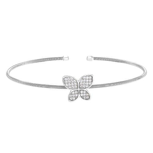 Rhodium Finish Sterling Silver Cable Cuff Butterfly Bracelet with Simulated Diamonds