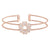 Rose Gold Finish Sterling Silver Two Cable Cuff 5 Hearts Bracelet with Simulated Diamonds