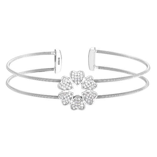 Rhodium Finish Sterling Silver Two Cable Cuff 5 Hearts Bracelet with Simulated Diamonds