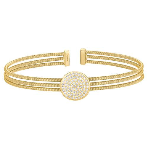 Gold Finish Sterling Silver Three Cable Cuff One Circle Bracelet with Simulated Diamonds