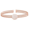 Rose Gold Finish Sterling Silver Three Cable Cuff One Circle Bracelet with Simulated Diamonds