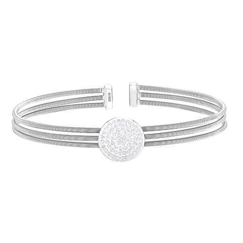 Rhodium Finish Sterling Silver Three Cable Cuff One Circle Bracelet with Simulated Diamonds