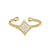 Gold Finish Sterling Silver Cable Cuff Diamond Shaped Ring with Simulated Diamonds