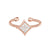 Rose Gold Finish Sterling Silver Cable Cuff Diamond Shaped Ring with Simulated Diamonds