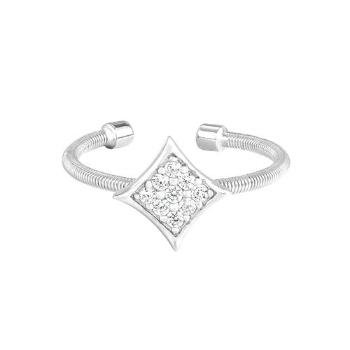 Rhodium Finish Sterling Silver Cable Cuff Diamond Shaped Ring with Simulated Diamonds