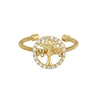 Gold Finish Sterling Silver Cable Cuff Tree Ring with Simulated Diamonds