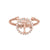 Rose Gold Finish Sterling Silver Cable Cuff Tree Ring with Simulated Diamonds