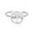 Rhodium Finish Sterling Silver Cable Cuff Tree Ring with Simulated Diamonds