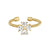 Gold Finish Sterling Silver Cable Cuff 4 Heart Shaped Stones CroSilver Ring with Simulated Diamonds