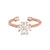 Rose Gold Finish Sterling Silver Cable Cuff 4 Heart Shaped Stones CroSilver Ring with Simulated Diamonds