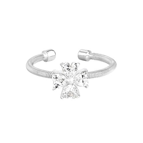 Rhodium Finish Sterling Silver Cable Cuff 4 Heart Shaped Stones CroSilver Ring with Simulated Diamonds
