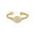 Gold Finish Sterling Silver Cable Cuff Evil Eye Ring with Simulated Diamonds