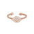 Rose Gold Finish Sterling Silver Cable Cuff Evil Eye Ring with Simulated Diamonds